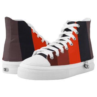 Brennender roter u. brauner Streifenentwurf Hoch-geschnittene Sneaker