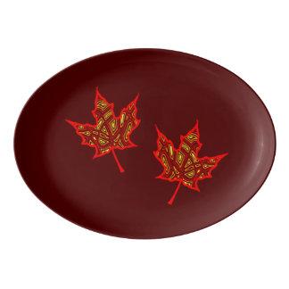 Brennendes Blätter Porzellan Servierplatte