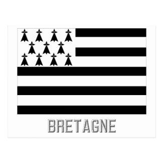 Bretagne-Flagge mit Namen Postkarte