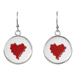 Bretagne. Rotes Herzwachs-Siegel mit Ohrringe