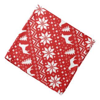 Bretagne-Silhouette-Weihnachtsmuster-Rot Kopftuch