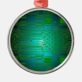 Bretleiterstromkreise Rundes Silberfarbenes Ornament