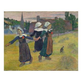 Bretonische tanzende Mädchen, Pont-Aven, 1888 Poster