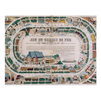 Brett für ein Bahnspiel, 1850 Postkarte