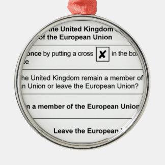 Brexit Referendum in Großbritannien Silbernes Ornament