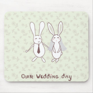 Bridal shower invitation with two cute rabbits in mousepads