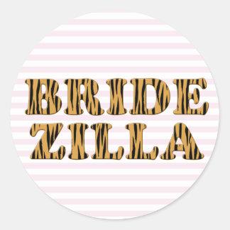 Bridezilla   rosa Streifen u. Tigerprint Aufkleber