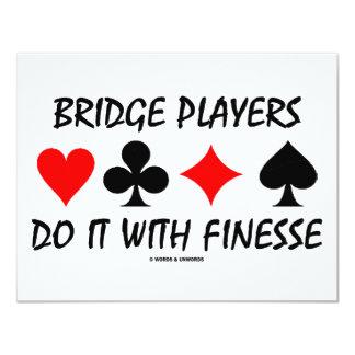 Bridge-Spieler tun es mit Finesse (Brücken-Spaß) 10,8 X 14 Cm Einladungskarte