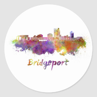Bridgeport skyline im Watercolor Runder Aufkleber
