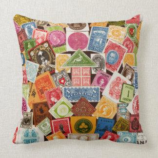 Briefmarken-Kollektorthrow-Kissen Kissen