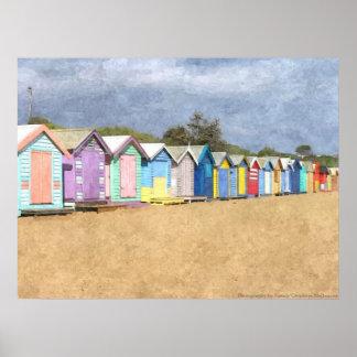 Brighton-Strand-Hütten Poster