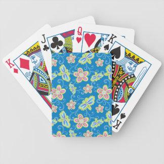 Brillant Blumen, Libellen und Wirbel auf Blau Bicycle Spielkarten