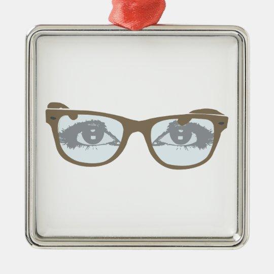 Brille Augen glasses eyes Quadratisches Silberfarbenes Ornament