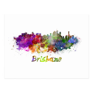 Brisbane skyline im Watercolor splatters Postkarte
