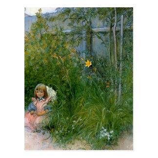 Brita im Blumen-Bett c1897 Postkarte