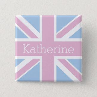 Briten inspirierten rosa und blauen quadratischer button 5,1 cm
