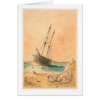 """Briten-Schiff """"Viscata"""" auf den Strand gesetzt Karte"""