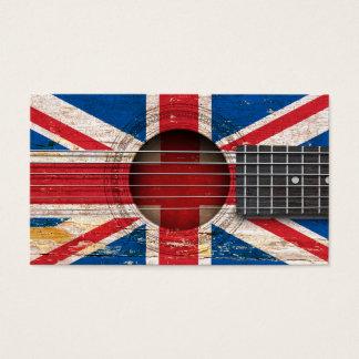 Britische Flagge auf alter Akustikgitarre Visitenkarte
