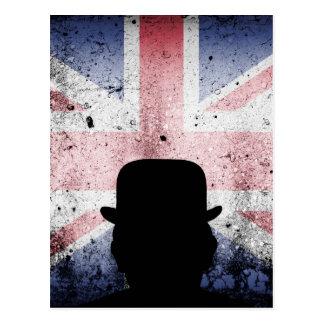 Britische Flagge auf einem gewölbten Hintergrund Postkarte