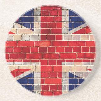 Britische Flagge auf einer Backsteinmauer Sandstein Untersetzer