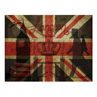 Britische Flagge, roter Bus, Big Ben u. Autoren Postkarte