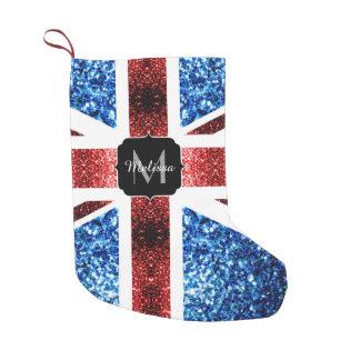 BRITISCHE Flagge rotes und blaues Glitzern-Glitter Kleiner Weihnachtsstrumpf