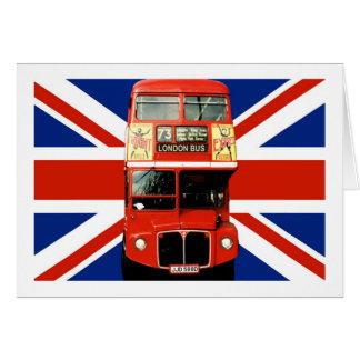 Britische Flagge und London-Bus Karte