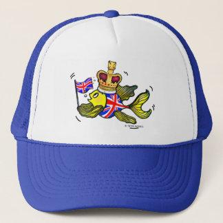 Britische Flaggen-Fische, die einen lustigen Truckerkappe