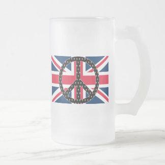 Britische Friedensschädel Mattglas Bierglas