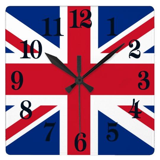 BRITISCHE Gewerkschafts-Jack-Flagge Quadratische Wanduhr