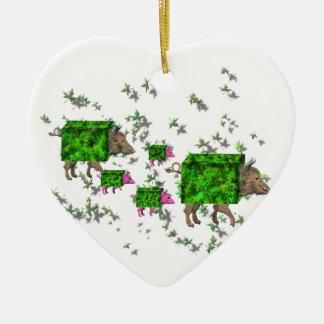 britische Heckenschweine Keramik Ornament