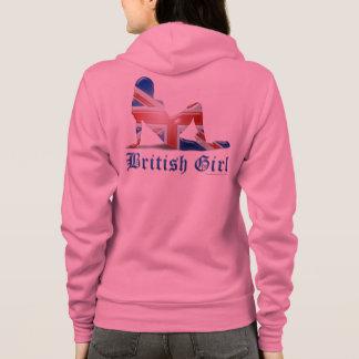 Britische Mädchen-Silhouette-Flagge Hoodie