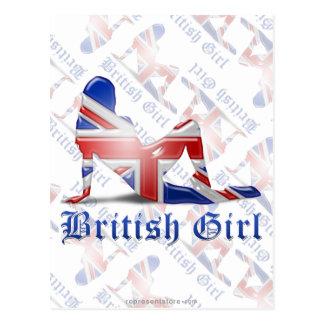 Britische Mädchen-Silhouette-Flagge Postkarte