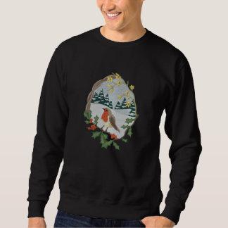 Britische Robin-Winter-Landschaft Besticktes Sweatshirt