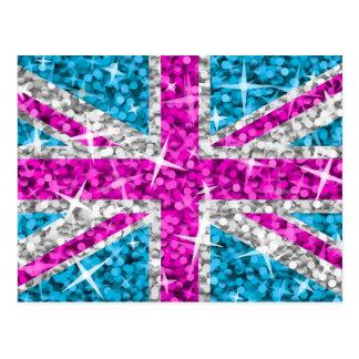 BRITISCHE rosa Postkarte des Glitz