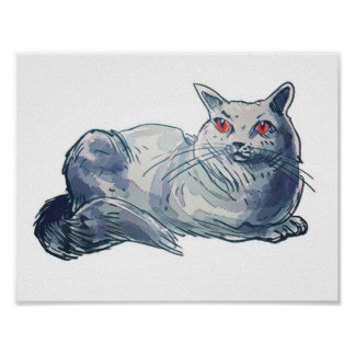 britische shorthair Katzen-Cartoon-Artillustration Poster
