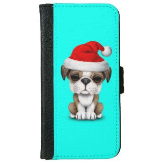 Britischer Bulldoggen-Welpen-Hund, der eine Geldbeutel Hülle Für Das iPhone 6/6s