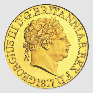 Britischer GoldSovereign 1817 (Satz von 6/20) Runder Aufkleber
