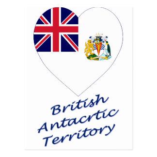 Britisches antarktisches Gebiets-Flaggen-Herz Postkarte