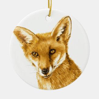 Britisches rotes wildes Leben Fox Keramik Ornament