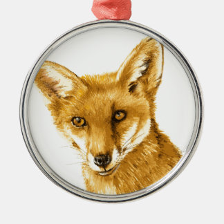 Britisches rotes wildes Leben Fox Silbernes Ornament