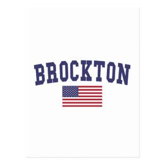 Brockton US Flagge Postkarte