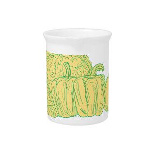 Brocolli Pfeffer-Zwiebel-Zeichnen Krug