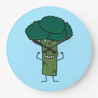 Brokkoli, der glückliches Baumkopf-Grüngemüse Große Wanduhr