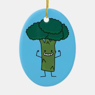 Brokkoli, der glückliches Baumkopf-Grüngemüse Keramik Ornament