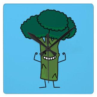 Brokkoli, der glückliches Baumkopf-Grüngemüse Quadratische Wanduhr