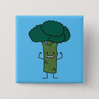 Brokkoli, der glückliches Baumkopf-Grüngemüse Quadratischer Button 5,1 Cm