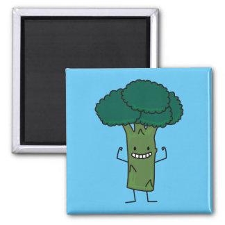 Brokkoli, der glückliches Baumkopf-Grüngemüse Quadratischer Magnet