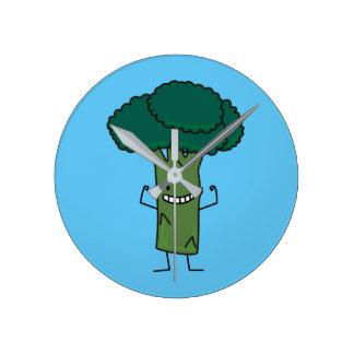 Brokkoli, der glückliches Baumkopf-Grüngemüse Runde Wanduhr