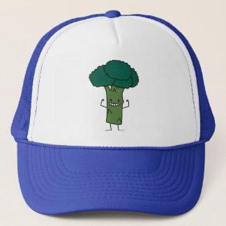 Brokkoli, der glückliches Baumkopf-Grüngemüse Truckerkappe